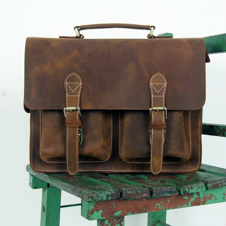 """Image of Vintage Handmade Crazy Horse Leather Briefcase Messenger 14"""" 15"""" Laptop 13"""" 15"""" MacBook Bag (n67-8)"""