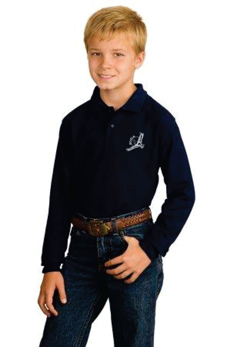 Image of Long Sleeve Polo-Youth, Ladies and Adult Sizes-Silk Screen Printed - see embroidery upgrad option.