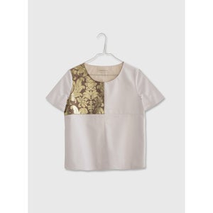 Image of White Leatherette & Brocade Top