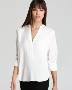 Image of VINCE Stretch Silk Zip-Placket Blouse