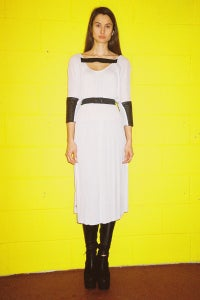 Image of Dress With Leather & elastic