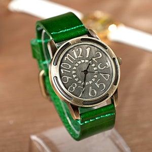 Image of Womens Wrist Watch / Handmade Vintage Leather Bangle Studded Bracelet Quartz Watch (WAT0231)