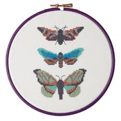 Image of Aqua Moth Trio cross-stitch PDF pattern