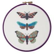 Image of Aqua Moth Trio cross-stitch PDF pattern