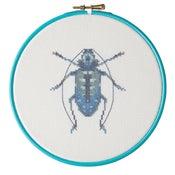 Image of Blue Beetle cross-stitch PDF pattern