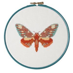 Image of Orange Moth cross-stitch PDF pattern