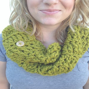 Image of Olive crocheted infinity cowl