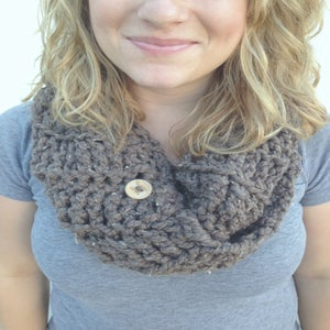 Image of Dusty Gray crocheted infinity cowl