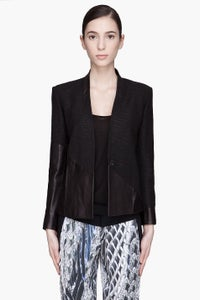Image of AUTHENTIC HELMUT LANG ASYMMETRICAL LEATHER PANEL BLAZER