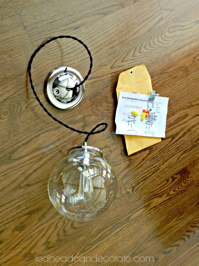 Image of Hand Blown Clear Glass Globe Light Fixture