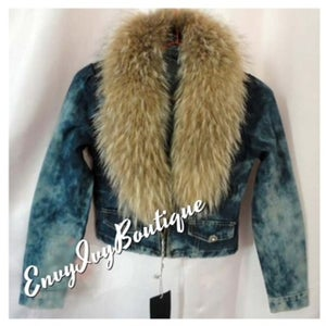 Image of Jean Jacket Fur Collar