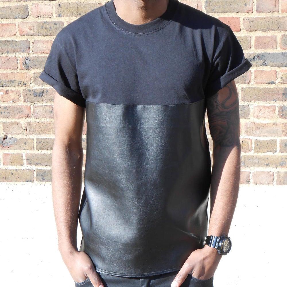 Image of 50/50 Black Leather On Black T-Shirt