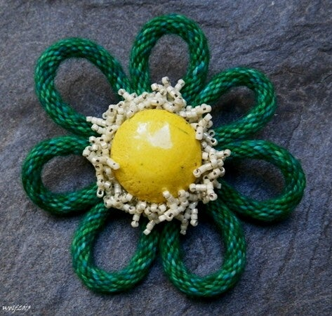 Image of SALE! Funky Flower Brooch, handmade kumihimo with stoneware button