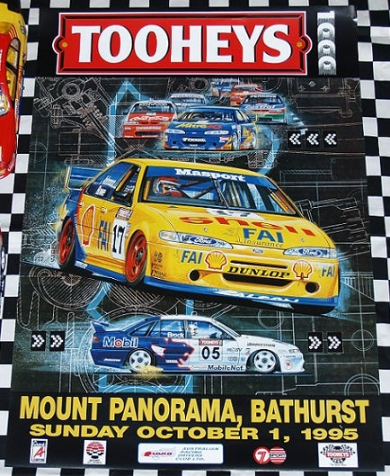 Image of 1995 Bathurst Poster featuring the Johnson/Bowe Falcon.