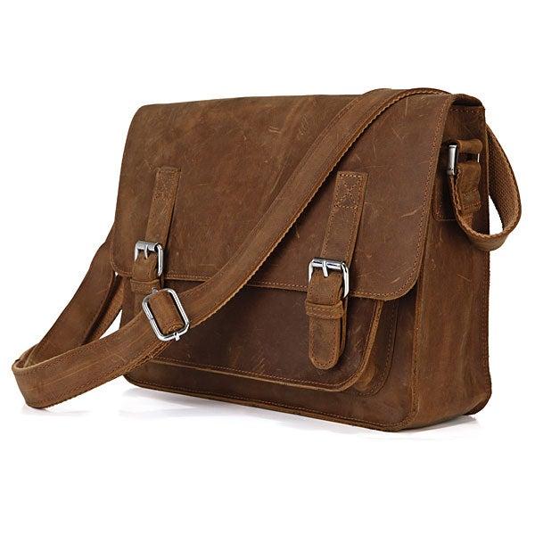 """Image of Vintage Handmade Antique Crazy Horse Leather Messenger Bag / 11"""" MacBook Satchel in Brown (n72-2)"""