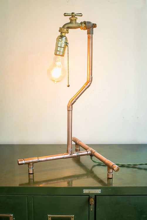 Image of Industrial Copper Table Lamp