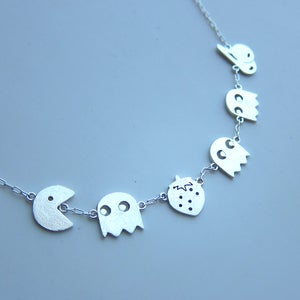 Image of PAC MAN & Cheery & Strawberry Necklace - Handmade Sterling Silver Necklace