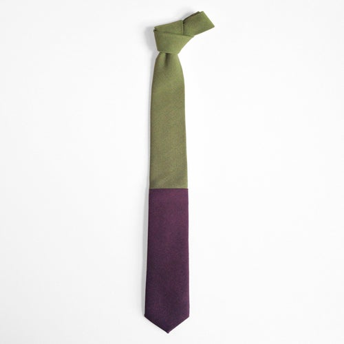 Image of olive + plum colorblock tie