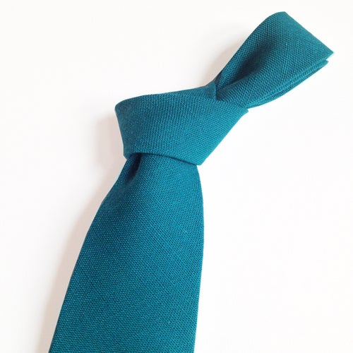 Image of dark teal linen tie