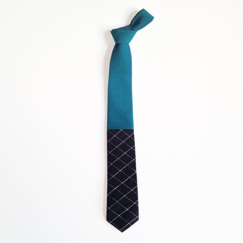 Image of dark teal + black grid colorblock tie