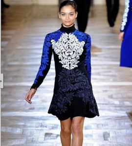Image of Blue Embroidered Mini Dress