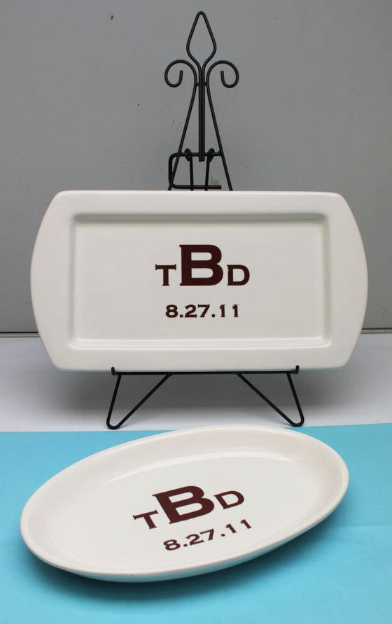 Image of Oval or Rectangular Monogram Platter