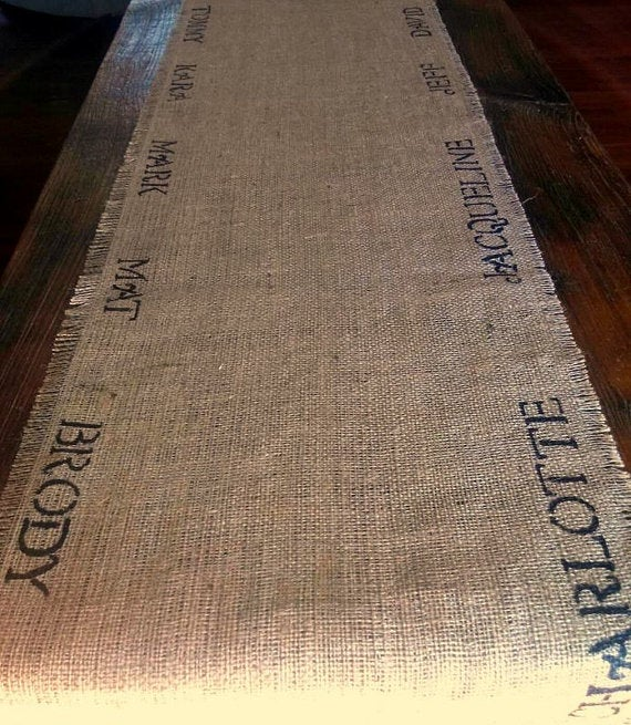 Image of Personalized Burlap Table Runner