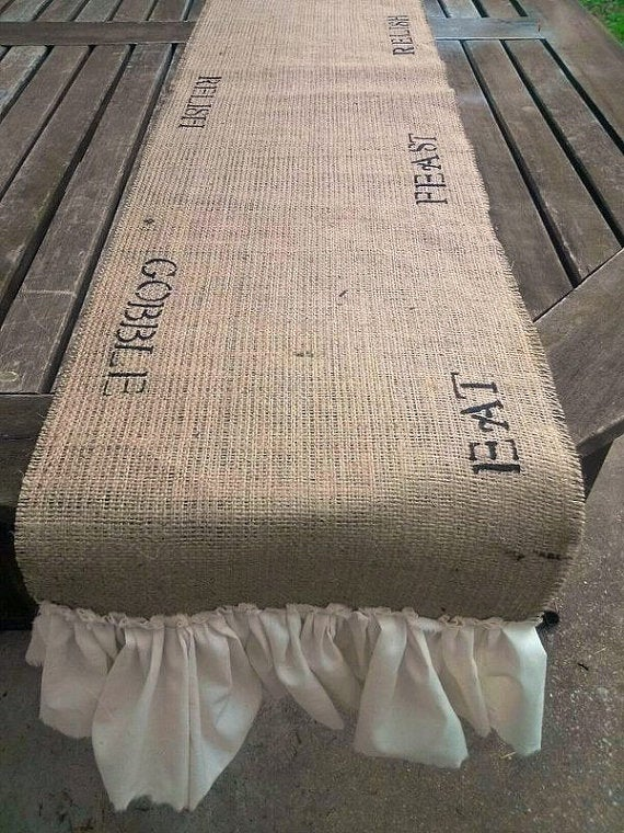 Image of Hand Painted Burlap Table Runner