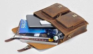 """Image of Vintage Handmade Crazy Horse Leather Briefcase Messenger 14"""" 15"""" Laptop 13"""" 15"""" MacBook Bag (n67-10)"""