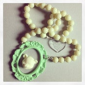 Image of Minty Magic - Teddy Bear Animal Cameo Necklace