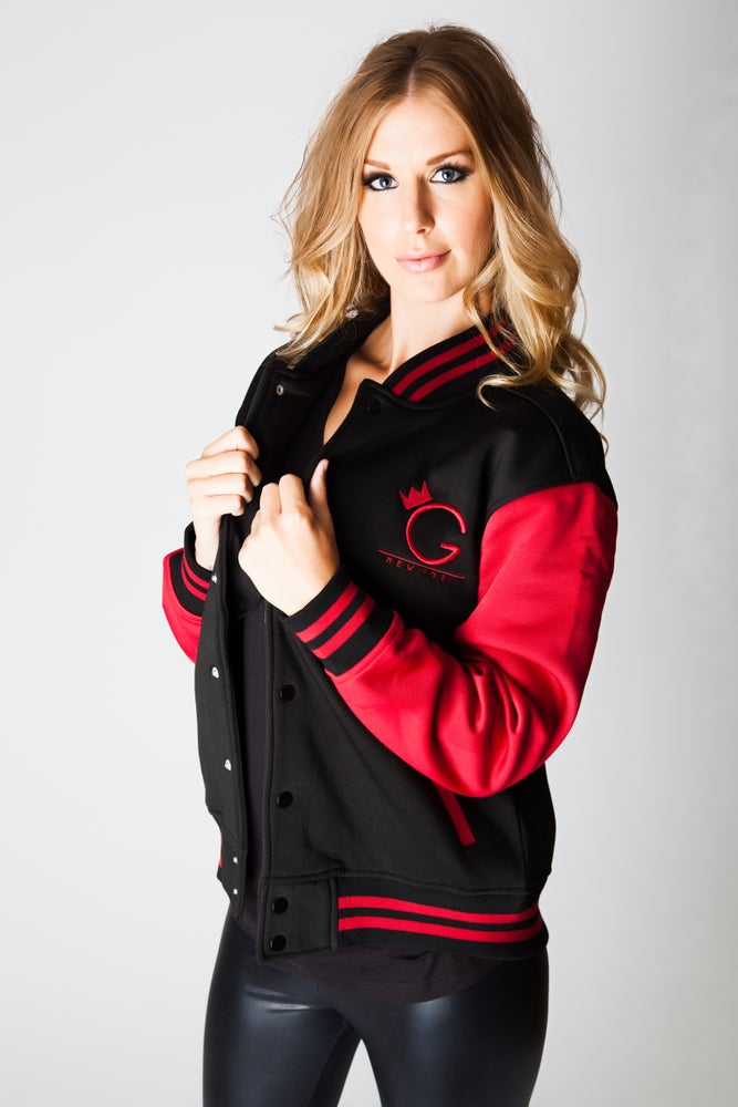 Image of VARSITY JACKET.. BLACK AND RED