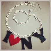 Image of i (heart) new york - i love new york! necklace on vintage white chain