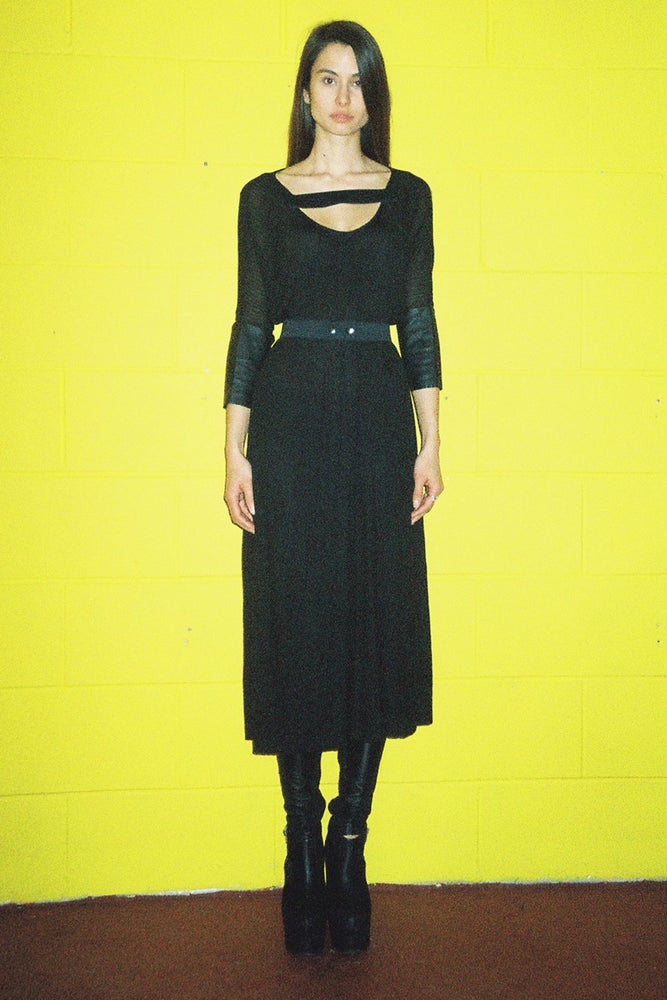 Image of Jersey Rib Dress With Leather Sleeves