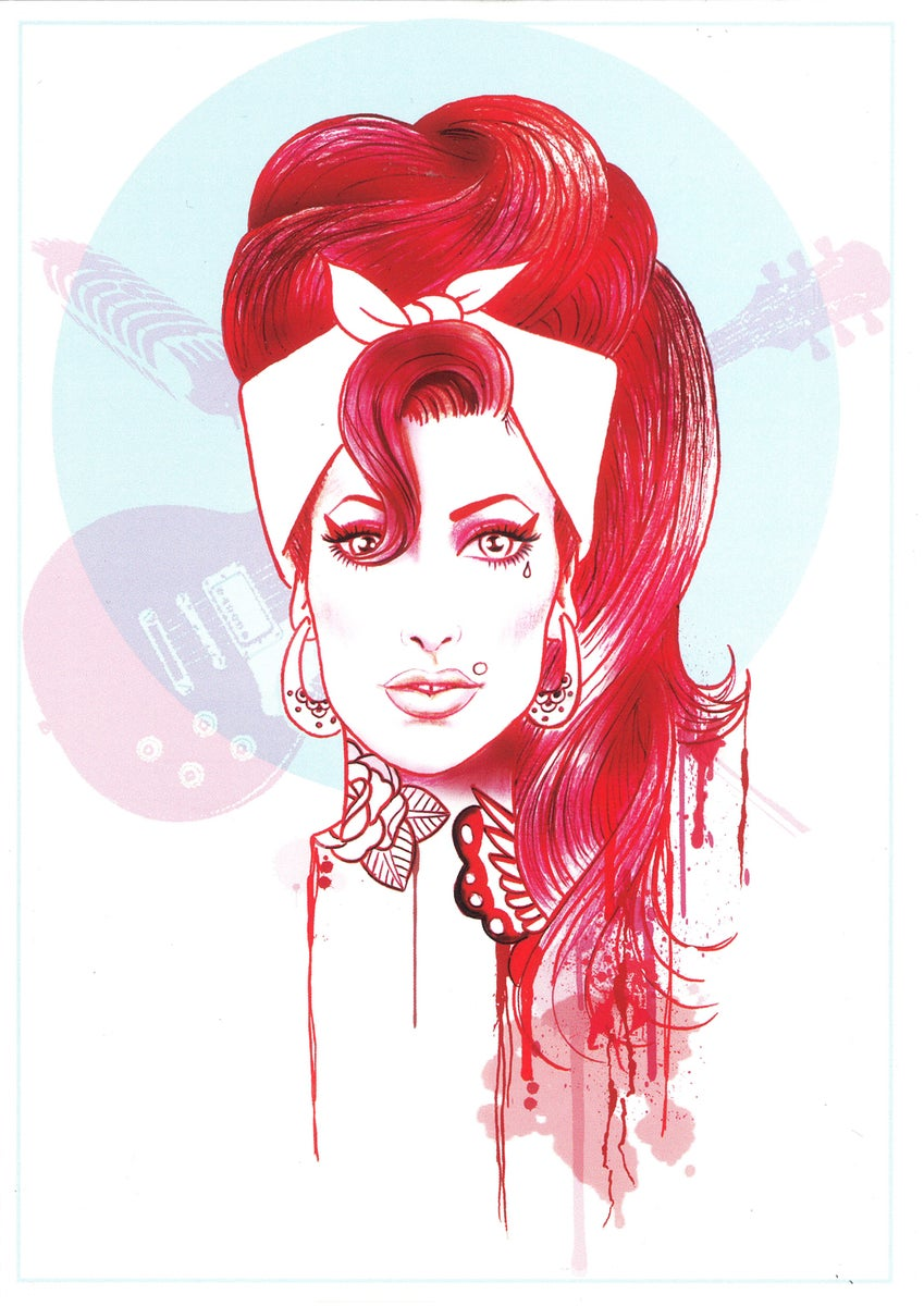 Amy Winehouse Greeting Card By Henry Hate / Amy Winehouse ...