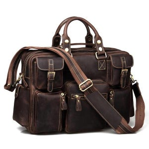 Image of Vintage Handmade Antique Leather Business Travel Bag / Messenger / Duffle Bag / Weekend Bag (n62-6)