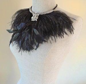 Image of Corelli Black Feather and Rhinestone Necklace