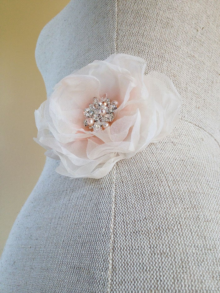 Image of Aria Ivory and Pink Flower Fascinator