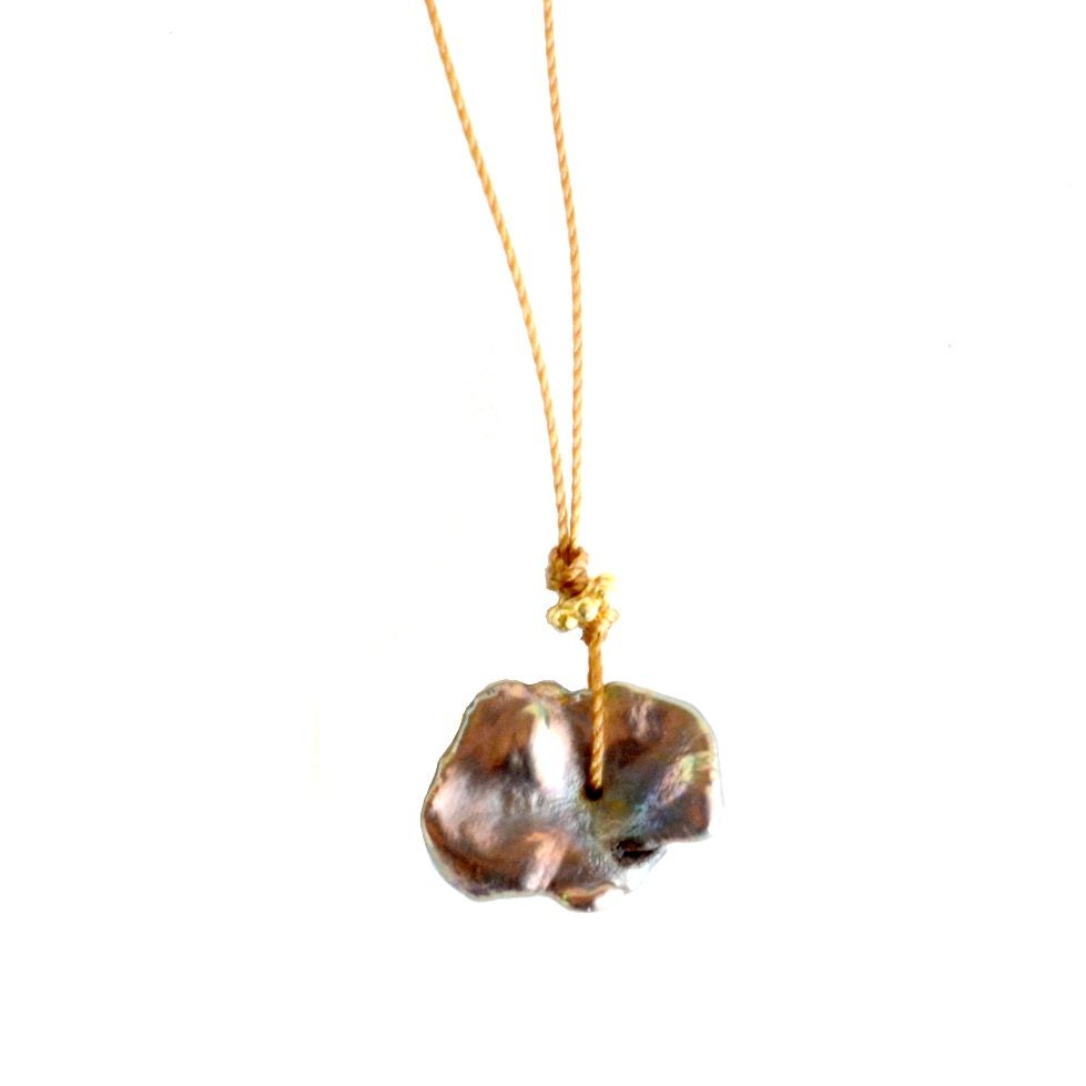 Image of Brown keshi pearl thread necklace