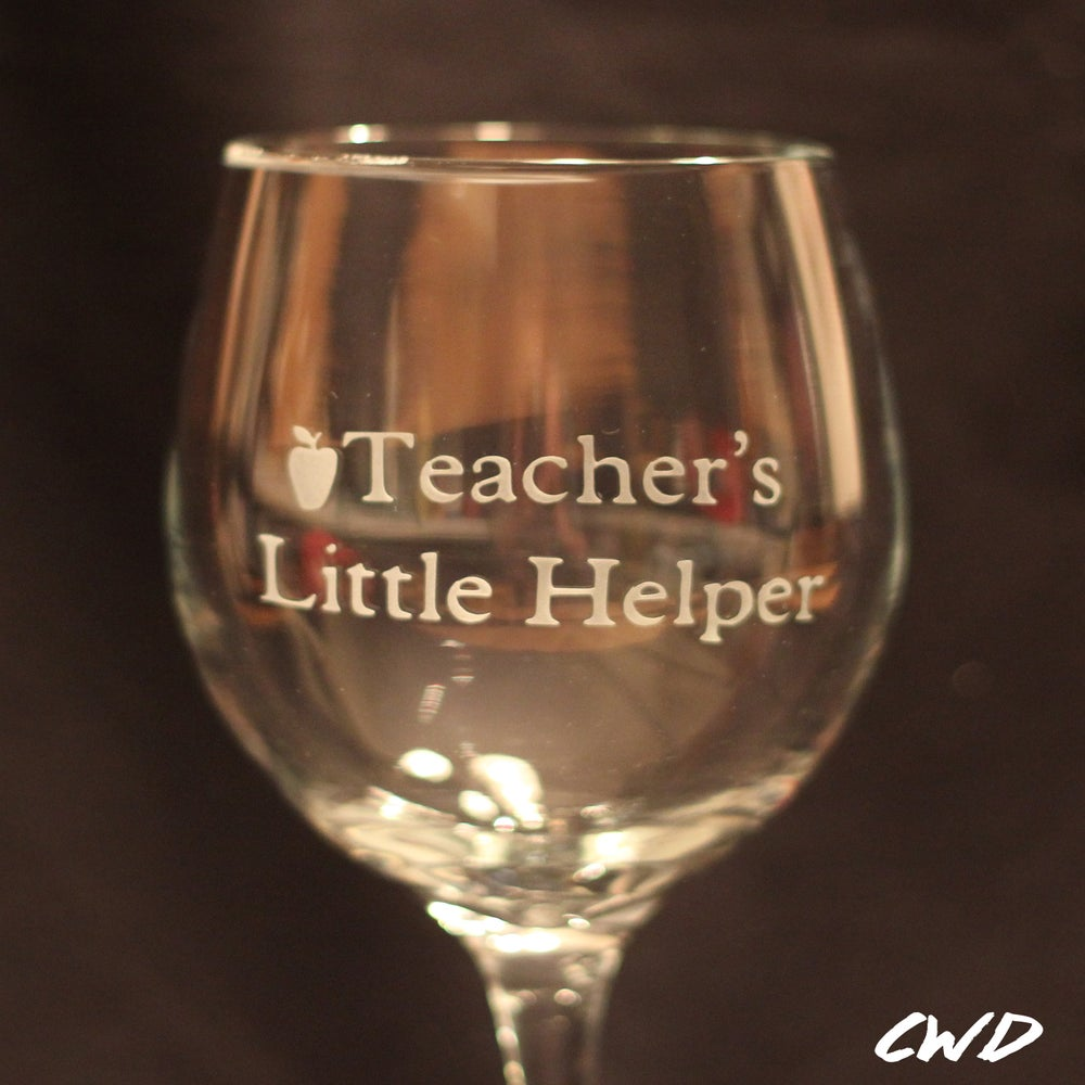 Image of Teacher's Little Helper Etched Wine Glass