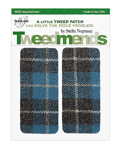 Image of Iron-On Wool Elbow Patches -Vintage blue & grey plaid - limited edition!