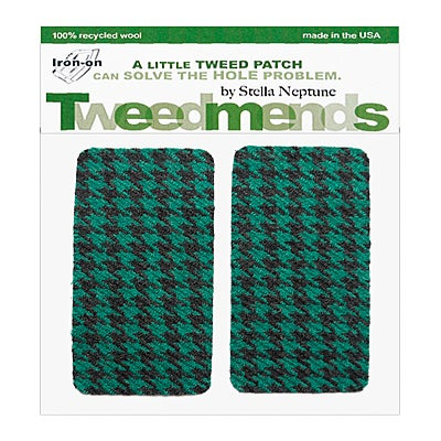 Image of Iron-on Wool Elbow Patches - Teal Houndstooth - limited edition!