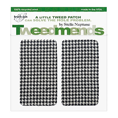 Image of Iron-on Elbow Patches - B&W Houndstooth Wool - limited edition!
