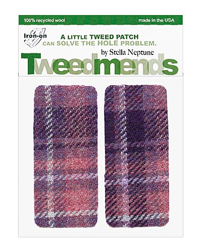 Image of Iron-on Wool Elbow Patches - Purple Plaid - limited edition!