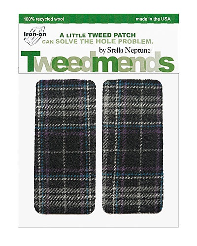 Image of Iron-on Wool Elbow Patches -Navy & Grey Plaid- Limited Edition!