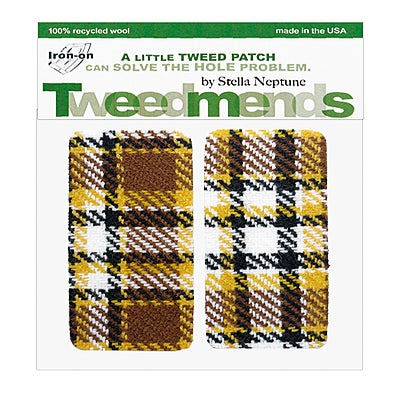 Image of Iron-on Elbow Patches - Brown & Yellow Plaid Wool - Limited Edition!