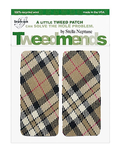 Image of Iron-on Wool Elbow Patches -Brown & Black Plaid - Limited Edition!