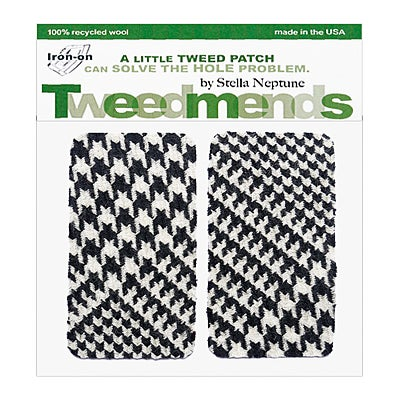 Image of Iron-On Wool Elbow Patches - B&W Crazy Houndstooth - Limited Edition!