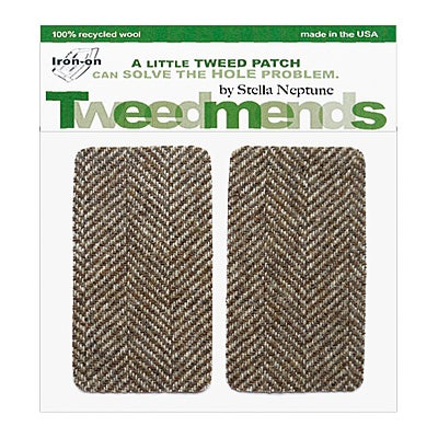 Image of Iron-on Wool Elbow Patches - Brown & White Herringbone - Limited Edition!