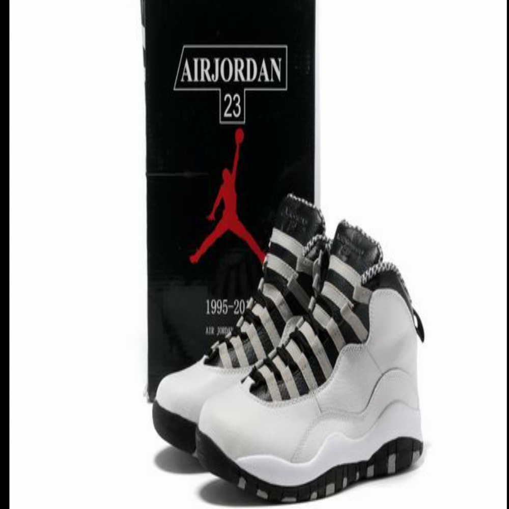 Image of Men Air Jordan 10 Retro Shoes 08 White Black Grey
