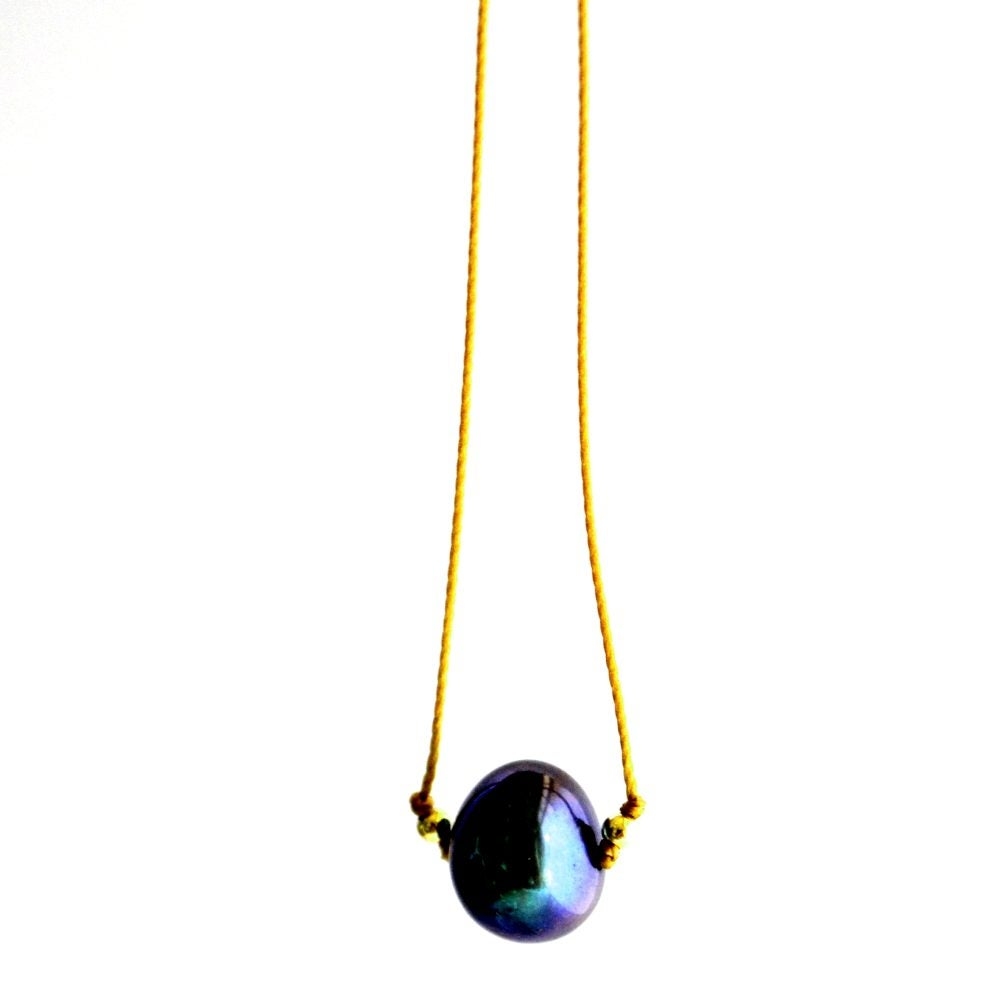 Image of Peacock pearl cord necklace